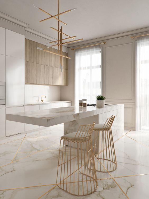 Come abbinare marmo e legno. Splendore in cucina.